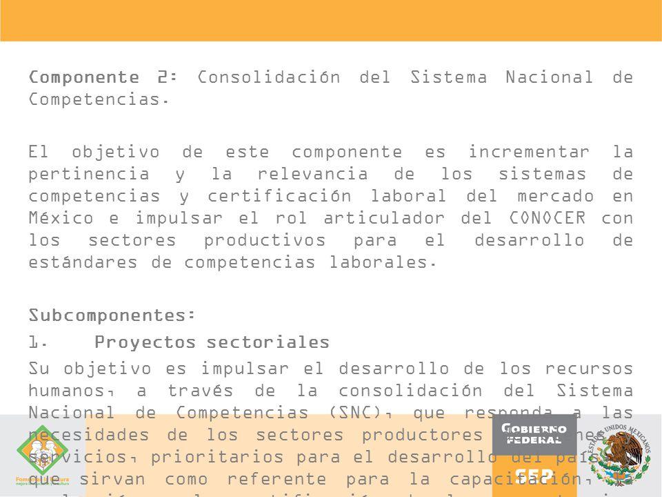 Componente 2: Consolidación del Sistema Nacional de Competencias