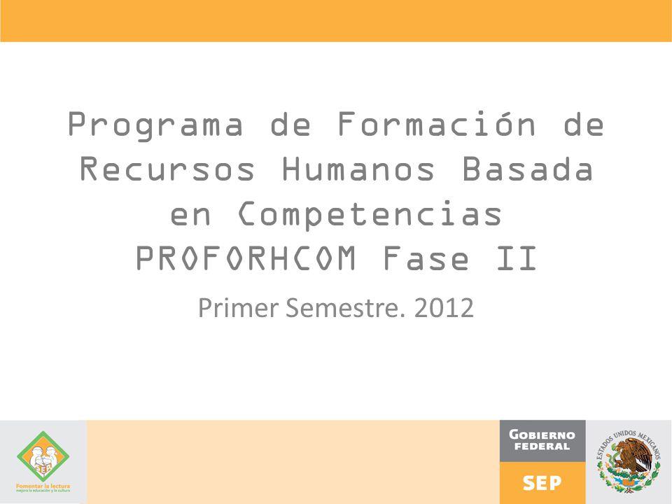 Programa de Formación de Recursos Humanos Basada en Competencias PROFORHCOM Fase II
