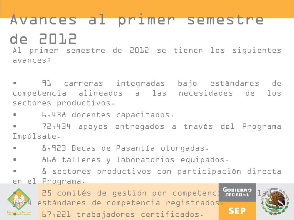 Avances al primer semestre de 2012