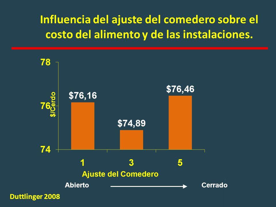 Influencia del ajuste del comedero sobre el costo del alimento y de las instalaciones.