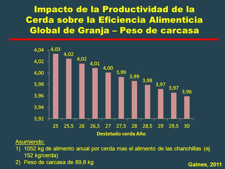 Impacto de la Productividad de la Cerda sobre la Eficiencia Alimenticia Global de Granja – Peso de carcasa