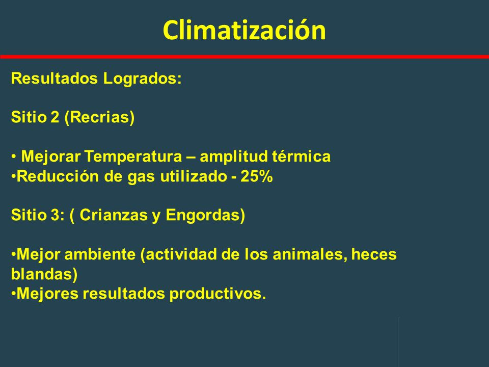 Climatización Resultados Logrados: Sitio 2 (Recrias)