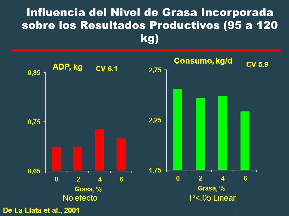 Influencia del Nivel de Grasa Incorporada sobre los Resultados Productivos (95 a 120 kg)