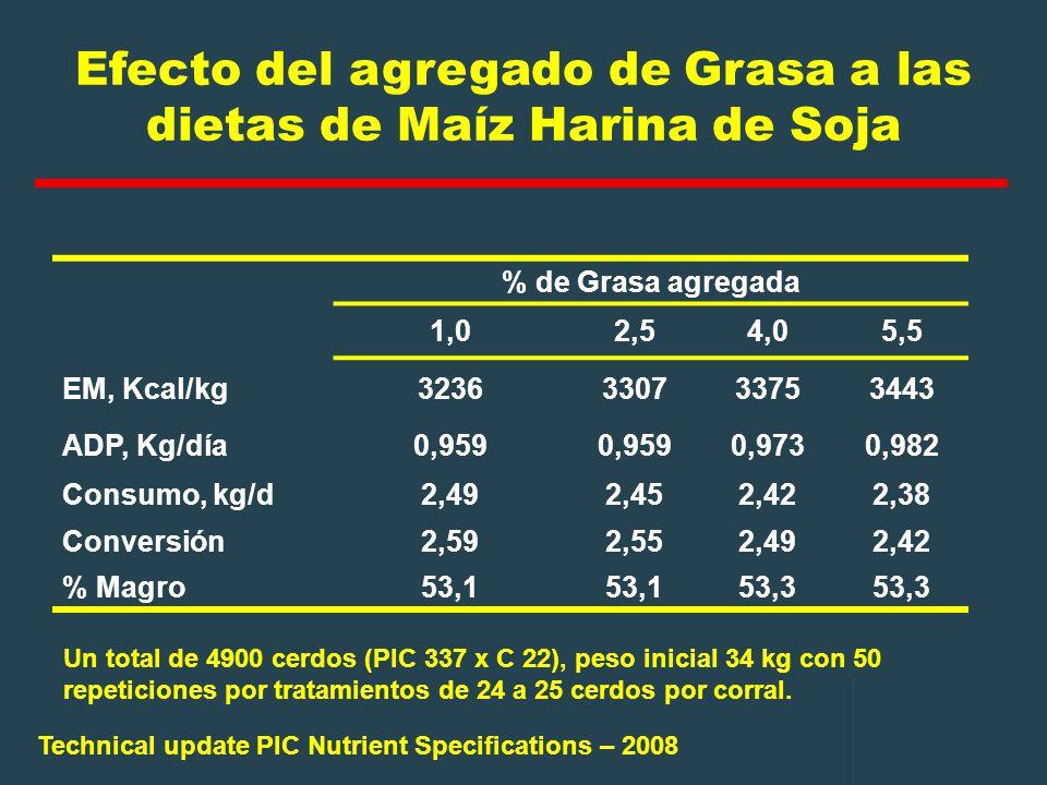 Efecto del agregado de Grasa a las dietas de Maíz Harina de Soja