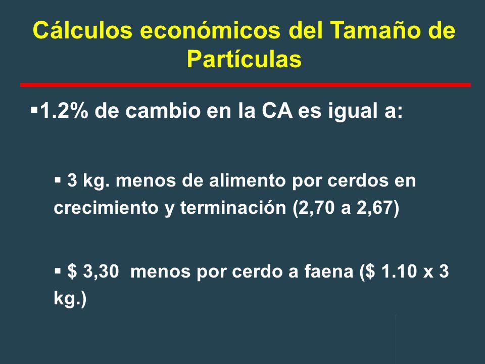 Cálculos económicos del Tamaño de Partículas