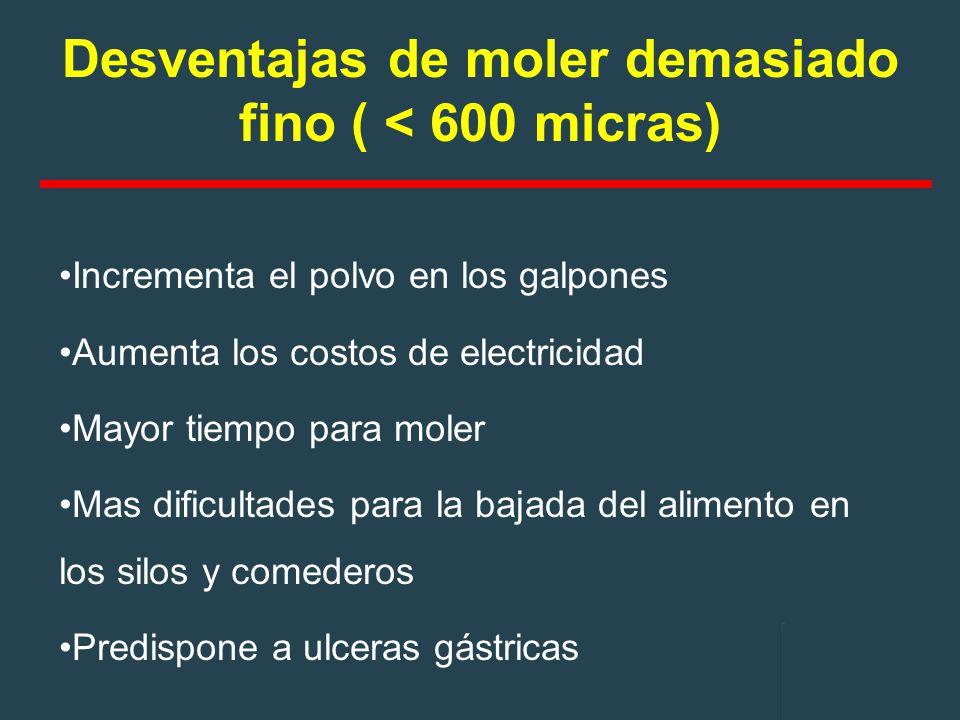 Desventajas de moler demasiado fino ( < 600 micras)