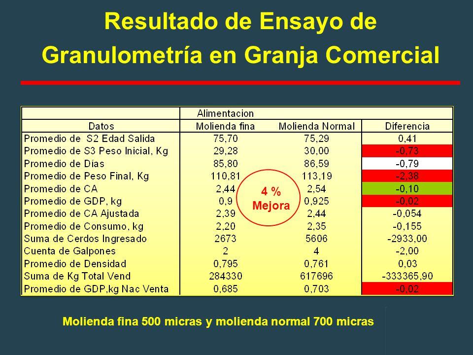 Resultado de Ensayo de Granulometría en Granja Comercial