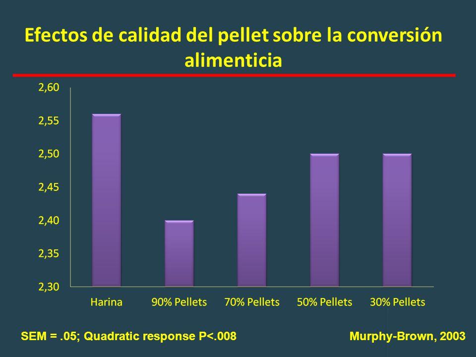 Efectos de calidad del pellet sobre la conversión alimenticia