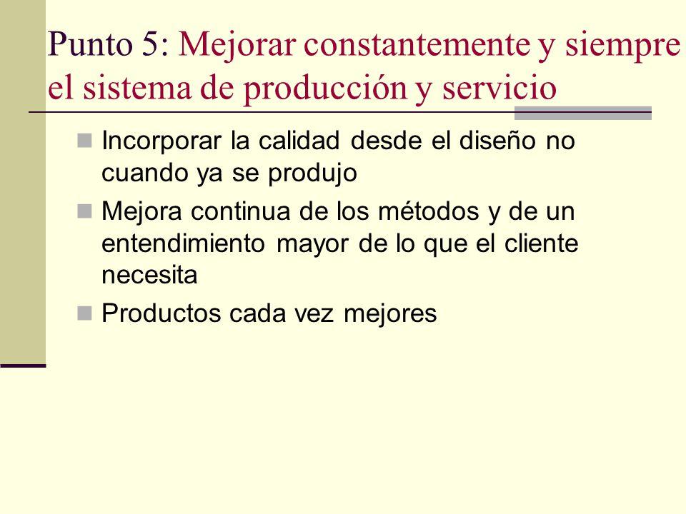 Punto 5: Mejorar constantemente y siempre el sistema de producción y servicio