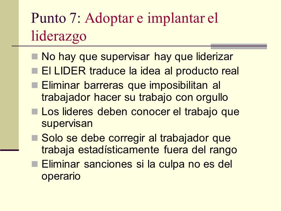 Punto 7: Adoptar e implantar el liderazgo