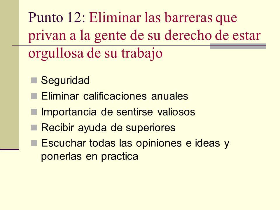 Punto 12: Eliminar las barreras que privan a la gente de su derecho de estar orgullosa de su trabajo