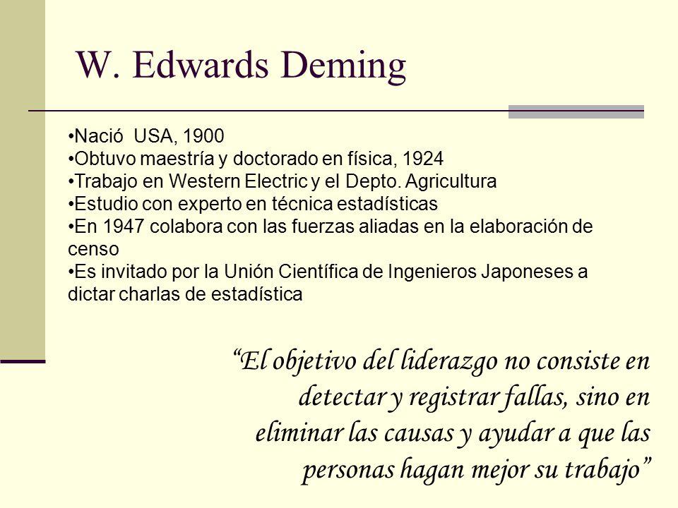 W. Edwards Deming Nació USA, 1900. Obtuvo maestría y doctorado en física, 1924. Trabajo en Western Electric y el Depto. Agricultura.
