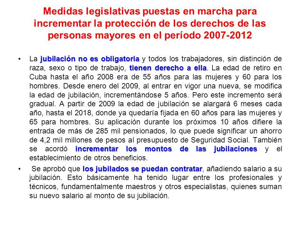 Medidas legislativas puestas en marcha para incrementar la protección de los derechos de las personas mayores en el período 2007-2012