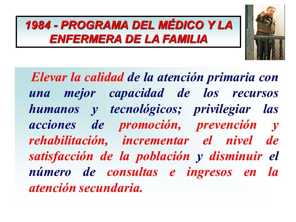 1984 - PROGRAMA DEL MÉDICO Y LA ENFERMERA DE LA FAMILIA