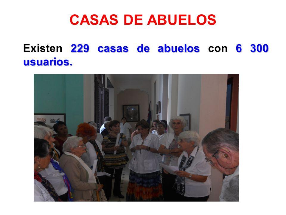 CASAS DE ABUELOS Existen 229 casas de abuelos con 6 300 usuarios.
