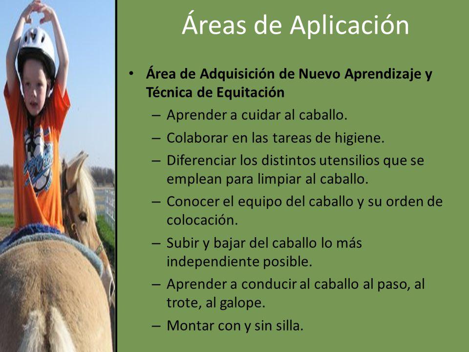 Áreas de Aplicación Área de Adquisición de Nuevo Aprendizaje y Técnica de Equitación. Aprender a cuidar al caballo.