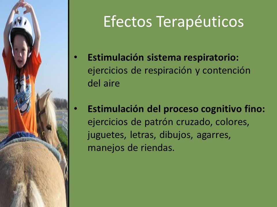 Efectos Terapéuticos Estimulación sistema respiratorio: ejercicios de respiración y contención del aire.