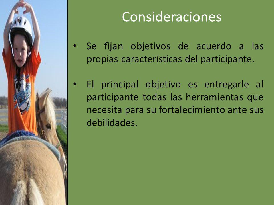 Consideraciones Se fijan objetivos de acuerdo a las propias características del participante.