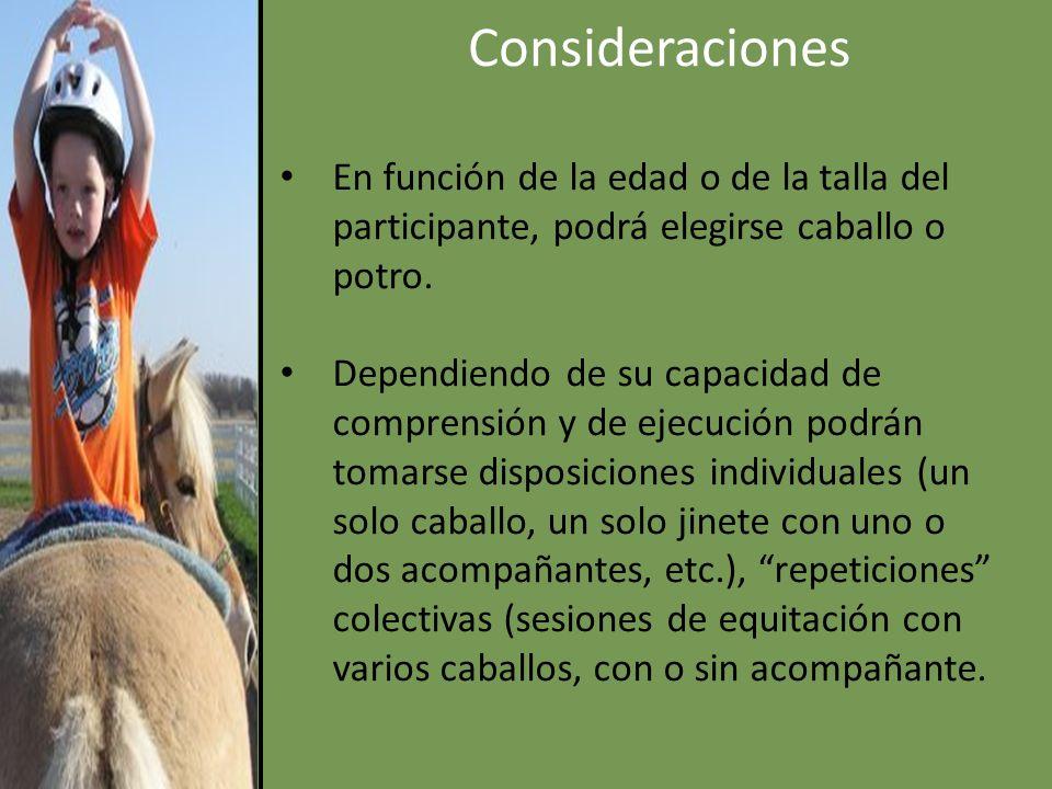 Consideraciones En función de la edad o de la talla del participante, podrá elegirse caballo o potro.