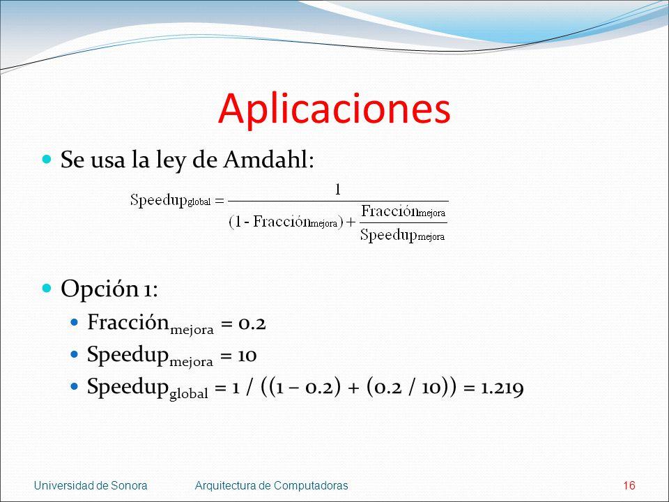 Aplicaciones Se usa la ley de Amdahl: Opción 1: Fracciónmejora = 0.2