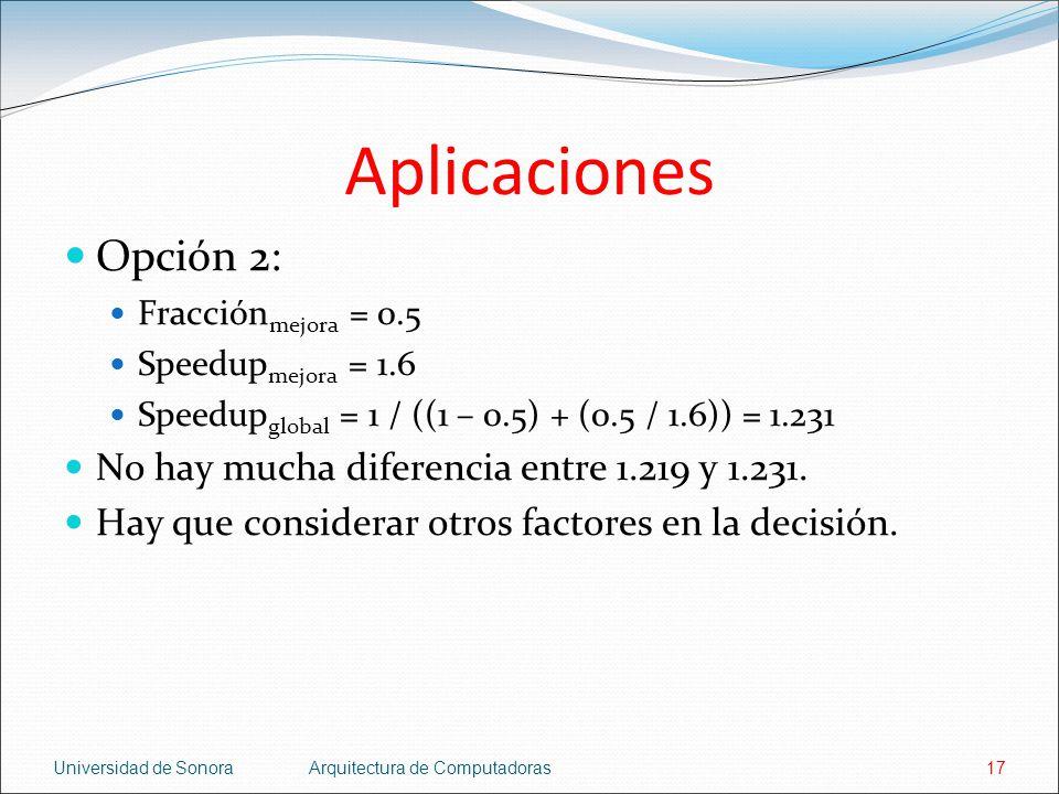 Aplicaciones Opción 2: No hay mucha diferencia entre 1.219 y 1.231.