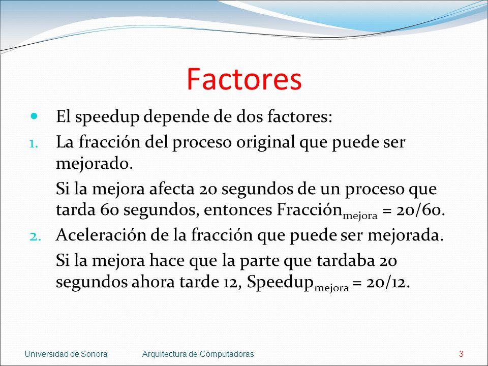 Factores El speedup depende de dos factores: