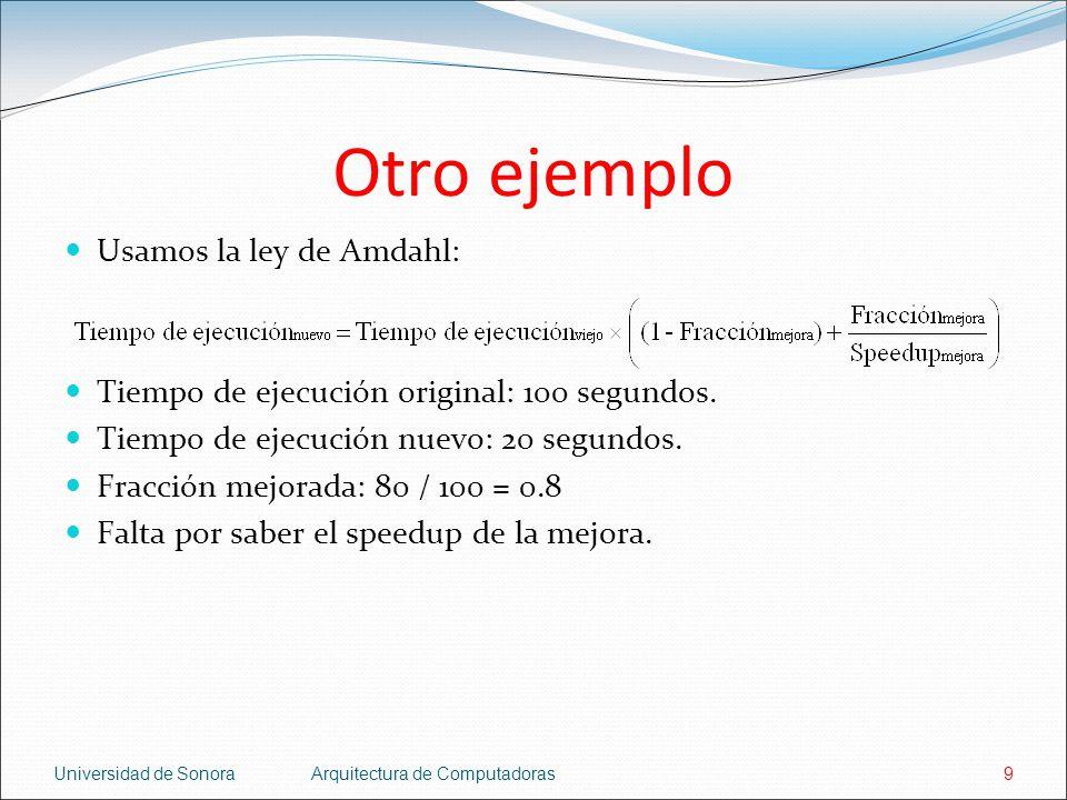 Otro ejemplo Usamos la ley de Amdahl: