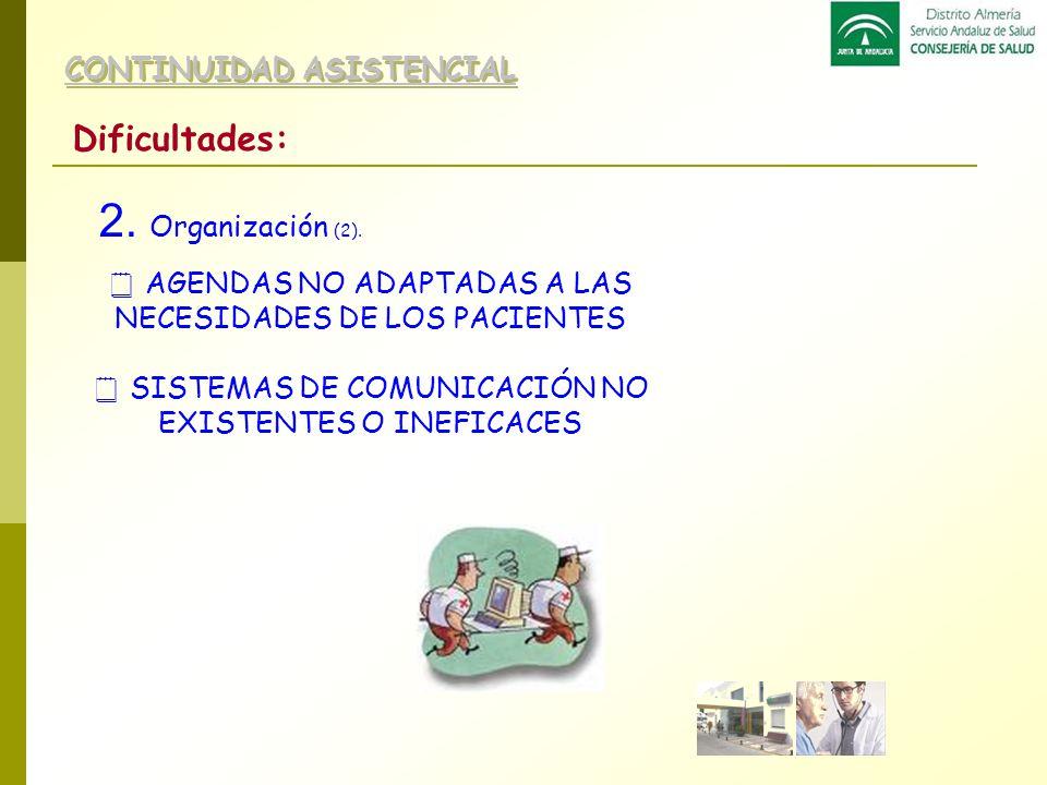 2. Organización (2). Dificultades: CONTINUIDAD ASISTENCIAL