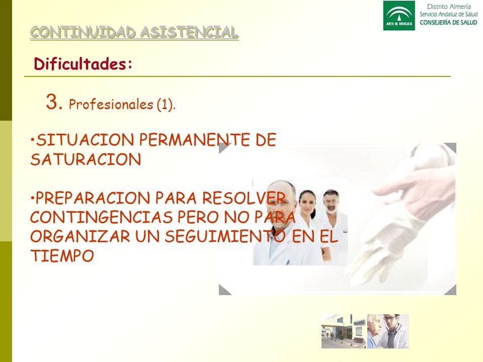 3. Profesionales (1). Dificultades: SITUACION PERMANENTE DE SATURACION