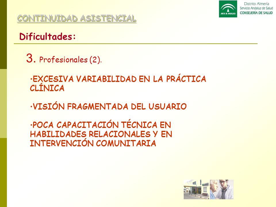 3. Profesionales (2). Dificultades: CONTINUIDAD ASISTENCIAL