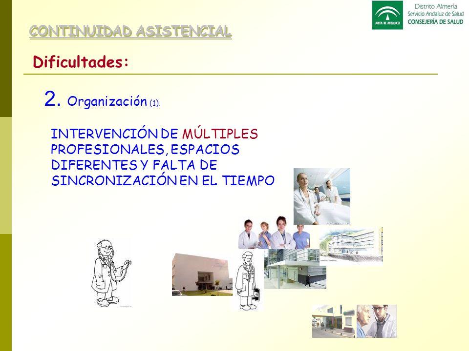 2. Organización (1). Dificultades: CONTINUIDAD ASISTENCIAL