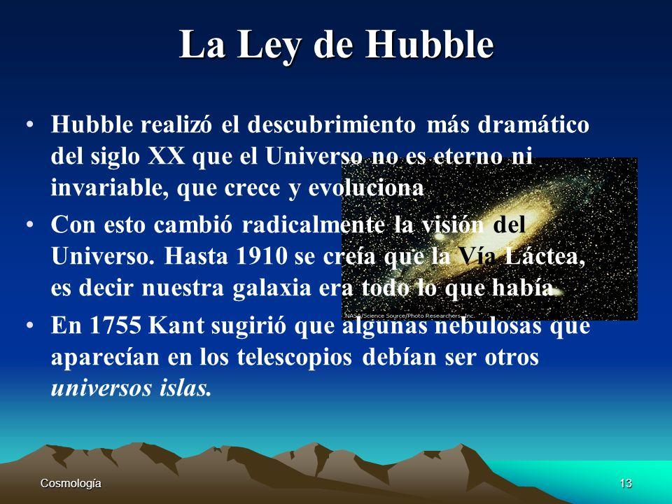 La Ley de Hubble Hubble realizó el descubrimiento más dramático del siglo XX que el Universo no es eterno ni invariable, que crece y evoluciona.