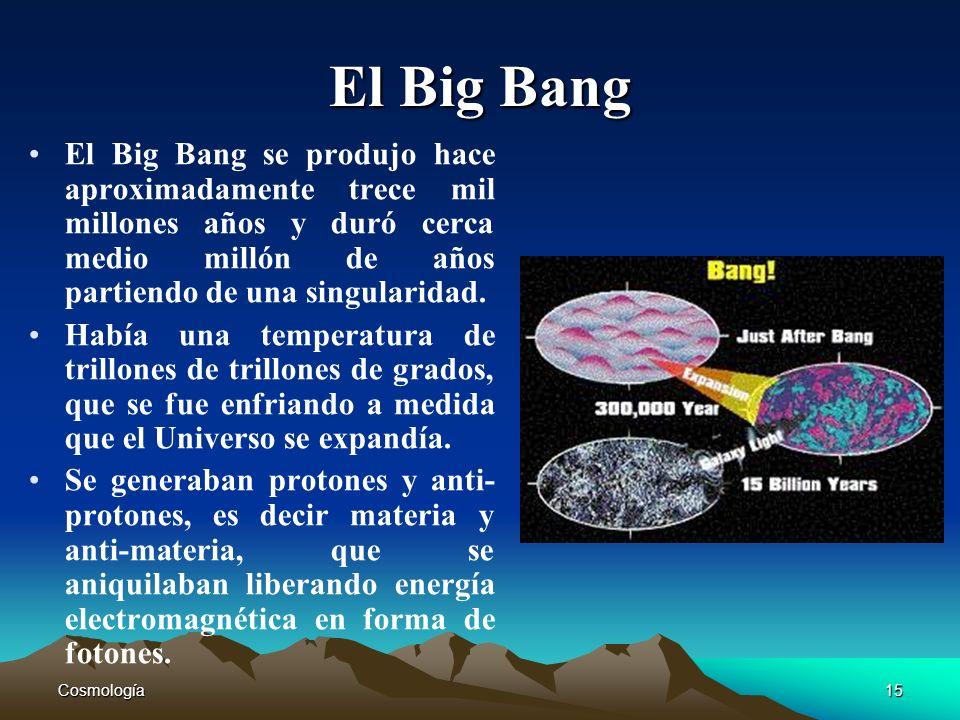 El Big Bang El Big Bang se produjo hace aproximadamente trece mil millones años y duró cerca medio millón de años partiendo de una singularidad.