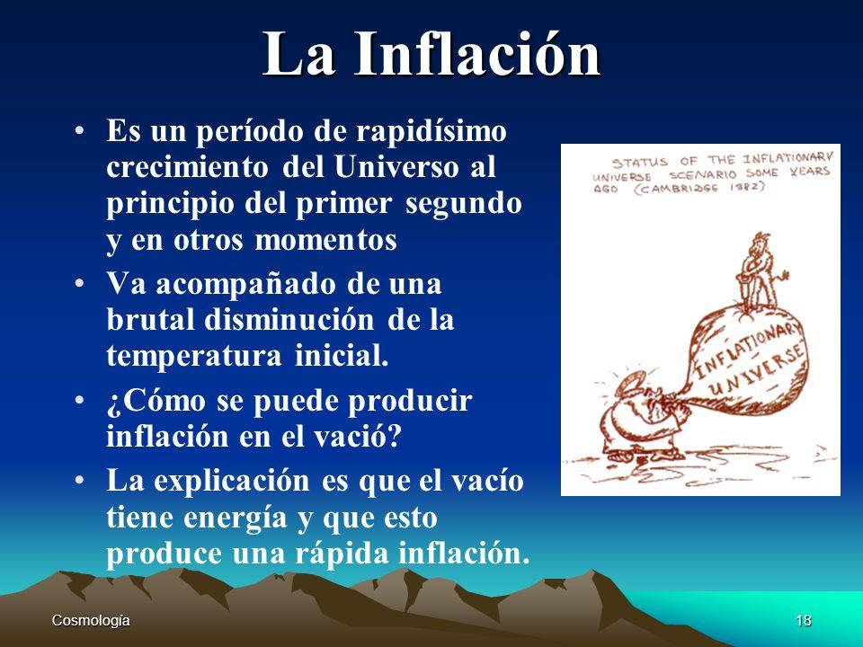 La InflaciónEs un período de rapidísimo crecimiento del Universo al principio del primer segundo y en otros momentos.