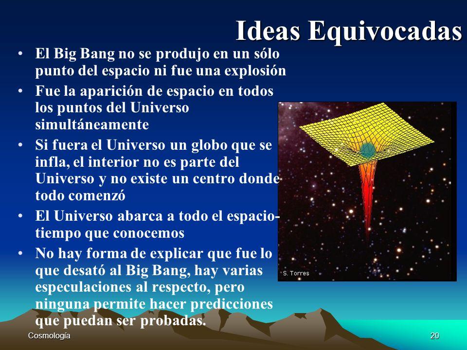 Ideas EquivocadasEl Big Bang no se produjo en un sólo punto del espacio ni fue una explosión.