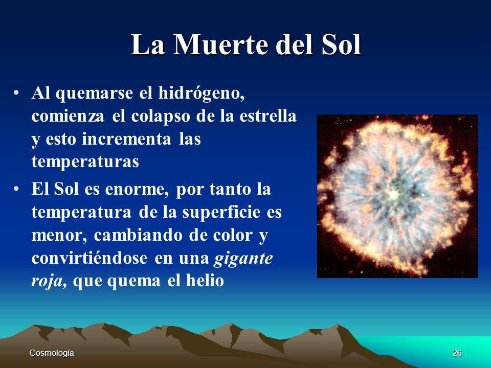 La Muerte del Sol Al quemarse el hidrógeno, comienza el colapso de la estrella y esto incrementa las temperaturas.