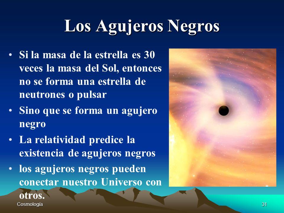 Los Agujeros Negros Si la masa de la estrella es 30 veces la masa del Sol, entonces no se forma una estrella de neutrones o pulsar.