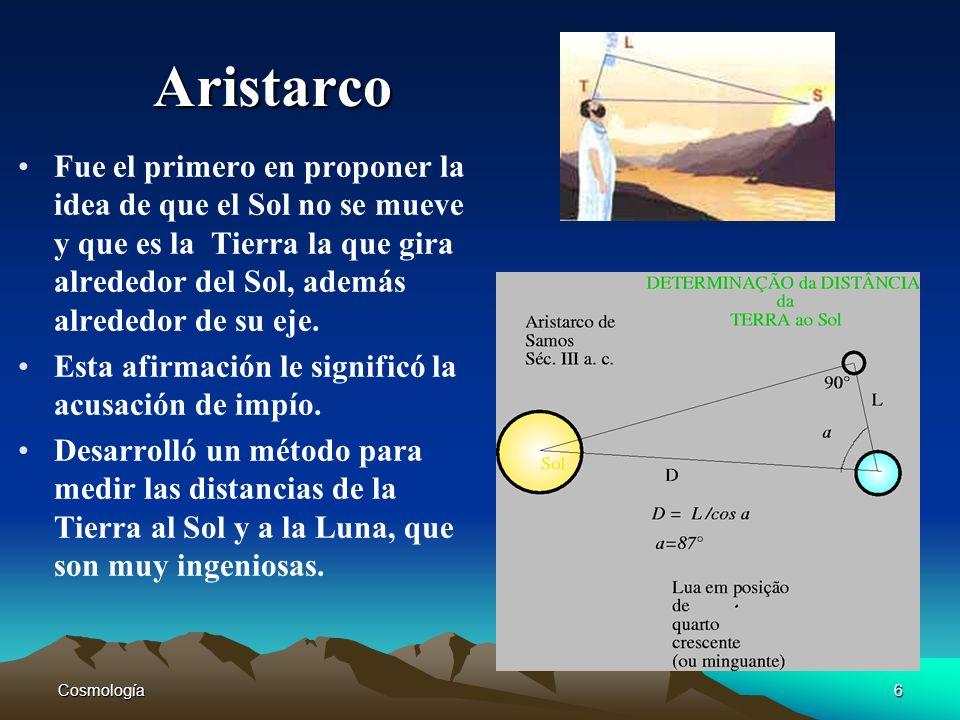 AristarcoFue el primero en proponer la idea de que el Sol no se mueve y que es la Tierra la que gira alrededor del Sol, además alrededor de su eje.