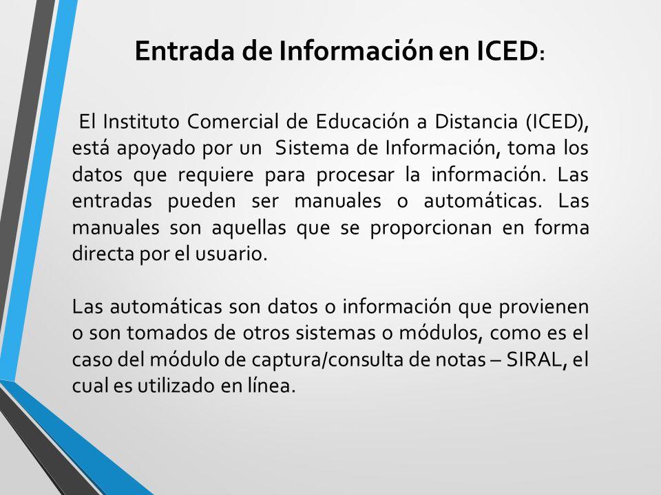 Entrada de Información en ICED: