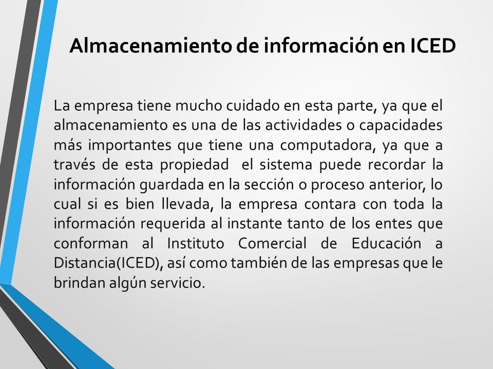 Almacenamiento de información en ICED