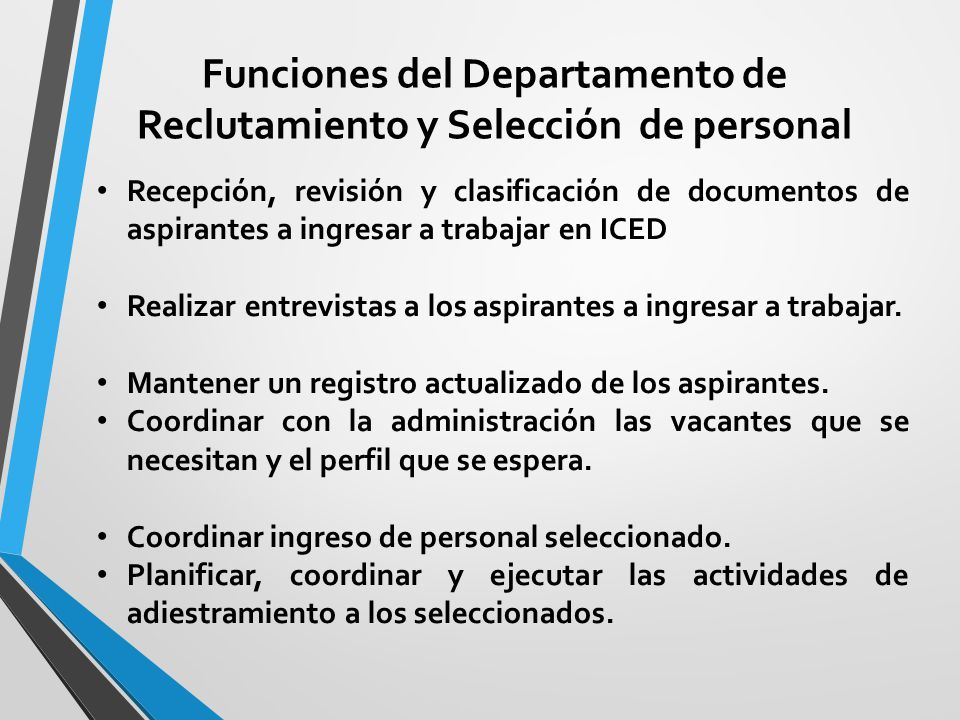 Funciones del Departamento de Reclutamiento y Selección de personal