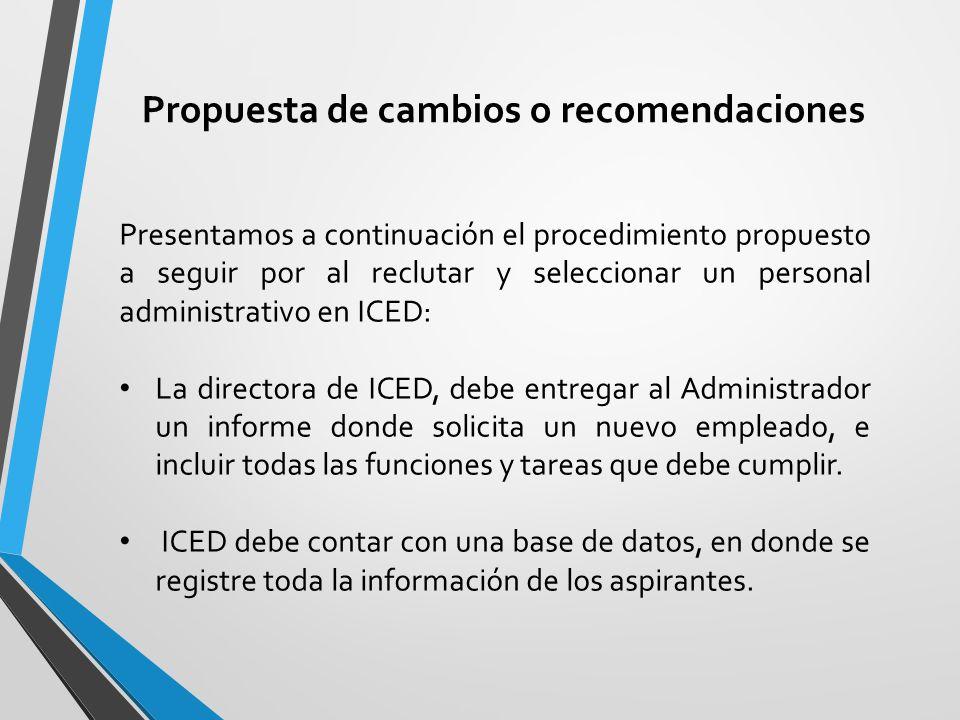 Propuesta de cambios o recomendaciones