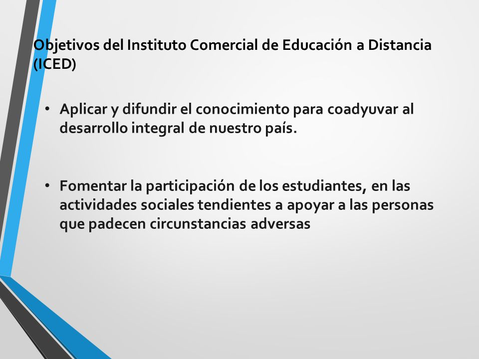 Objetivos del Instituto Comercial de Educación a Distancia (ICED)