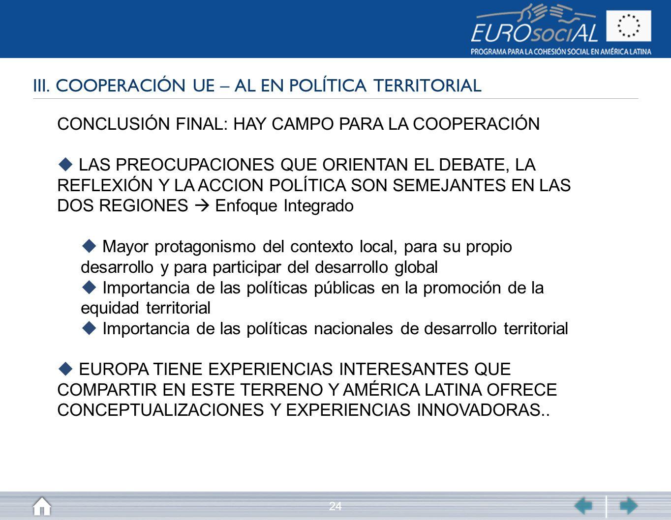 III. COOPERACIÓN UE – AL EN POLÍTICA TERRITORIAL