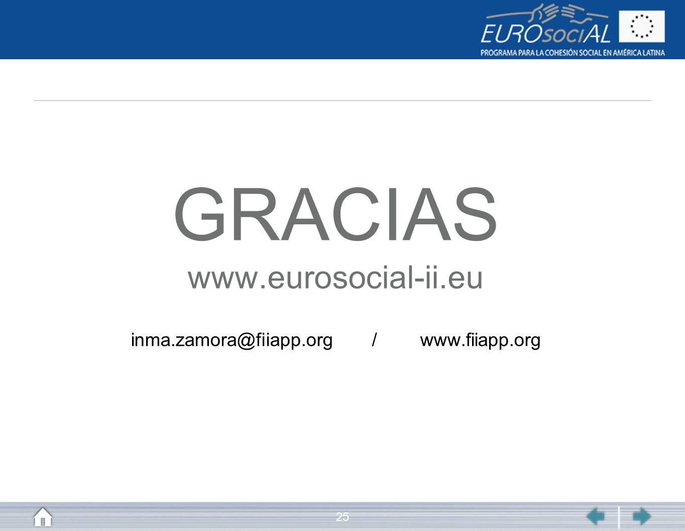 GRACIAS www.eurosocial-ii.eu inma.zamora@fiiapp.org / www.fiiapp.org
