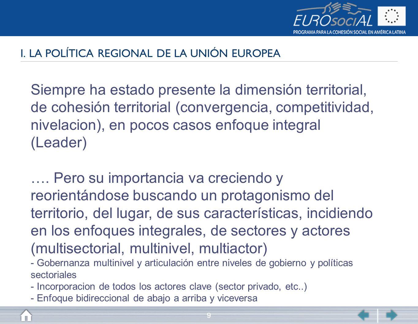 I. LA POLÍTICA REGIONAL DE LA UNIÓN EUROPEA