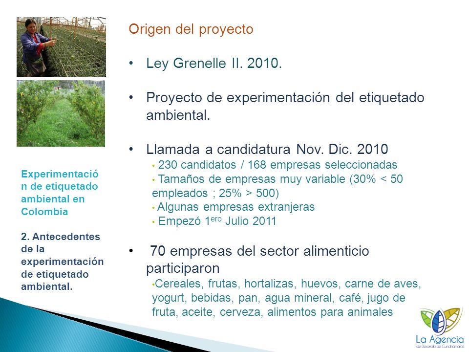 Proyecto de experimentación del etiquetado ambiental.