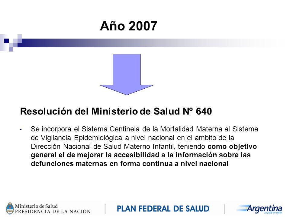 Año 2007 Resolución del Ministerio de Salud Nº 640