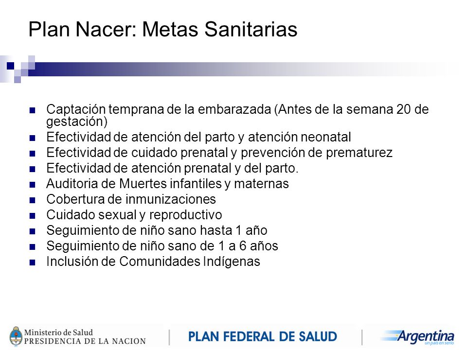 Plan Nacer: Metas Sanitarias