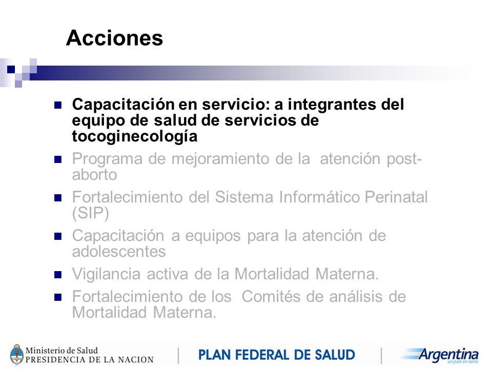 Acciones Capacitación en servicio: a integrantes del equipo de salud de servicios de tocoginecología.